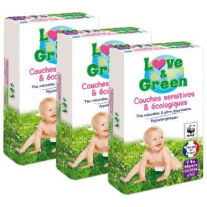Love & Green Couches écologiques taille 4+ Maxi+ 9-20 kg - paquet de 126