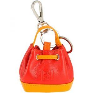 Dudu Porte-clés Porte-monnaie à Sac seau en Cuir coloré avec Coulisse 2 anneaux et Crochet pour les clés Rouge