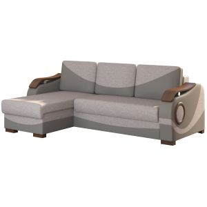 Comforium Canapé d'angle convertible 3 places en tissu gris et simili cuir gris fonce avec méridienne réversible