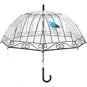 La Chaise Longue 36-1F-003 Parapluie cloche Cage à oiseaux Transparent Ouverture automatique Poignée ergonomique recourbée Protection anti-pincement Noir