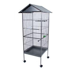 Volière cage à oiseaux en métal (130 x 52 x 52 cm)