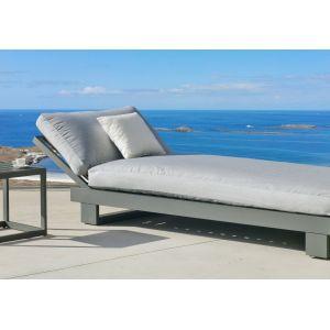 Hévéa Bain de soleil amayes bds45 en aluminium anthracite coussins couleur gris clair
