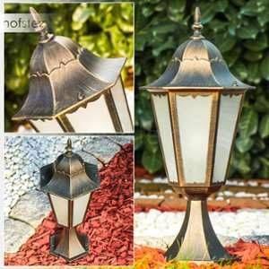 Hofstein Borne lumineuse Hongkong Frost Or, Bronze, 1 lumière - Classique - Extérieur - Frost -