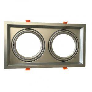 Silamp Support Double Orientable INOX Encastrable pour Ampoules LED AR111 - Argent