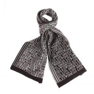 Guess Echarpe grise et noire monogrammée