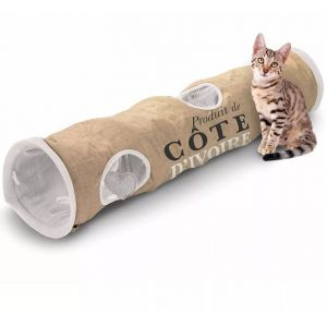 Ebi Tunnel Chat Cote d'Ivoire 120x25x25cm Jute - Tunnel de jeu pour chat en jute et polaire