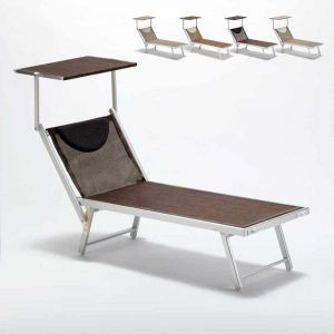 Beach and Garden Design Bain de soleil transat piscine lit de plage aluminium SANTORINI Limited Edition | Chocolate - Marron Santorini