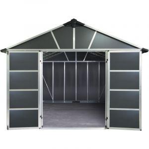 Palram Abri de jardin Yukon 11,7 m² avec base - Aluminium et polycarbonate - Gris