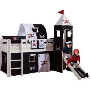 Lit surélevé 90x200 avec toboggan design Pirates