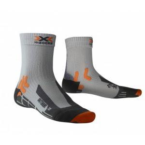 X-Socks Trek Outdoor - Chaussettes de Randonnée - Homme - Gris (noir/orange) - Taille: 42-44