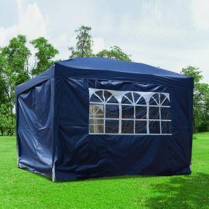 Outsunny Tente de réception pliante 3 x 3 m bleu + sac de transport