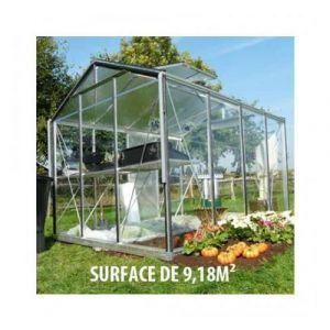ACD Serre de jardin en verre trempé Royal 34 - 9,18 m², Couleur Vert, Filet ombrage non, Ouverture auto Oui, Porte moustiquaire Non - longueur : 2m99