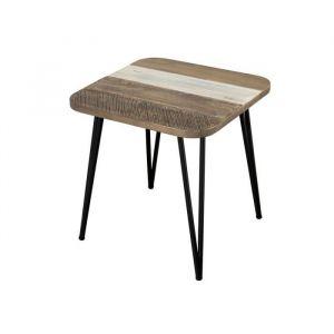 Bout de canapé scandinave en bois acacia m if multicolore brillant + pieds fifties en métal L 50 cm