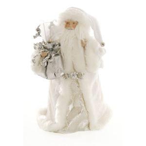Figurine de table : Père Noël blanc et argenté (30 cm)