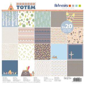 Artémio Papier scrapbooking - Totem - 40 feuilles