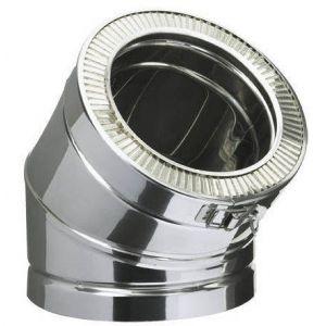 Poujoulat Coude 45° THERMINOX TI , diamètre 180 mm , tous combustibles Réf. EC 45 180 TI / 21180021