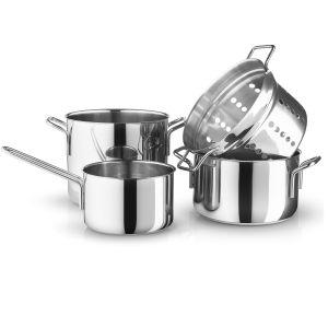 Eva Solo A/S Eva Trio - Batterie de cuisine Stainless Steel, casserole à manche 1,8 L / cocotte 3,6 L / cocotte 4,8 L / égouttoir pour pâtes