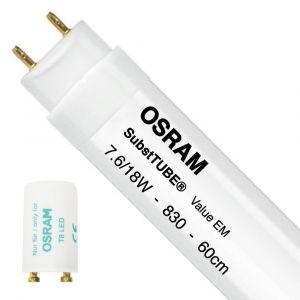 Ledvance Osram SubstiTUBE Value EM 7.6W 830 60cm | Blanc Chaud - Starter LED incl. - Substitut 18W