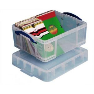 Really useful box 18CXL - Boîte de rangement en plastique 18 litres, en PP recyclé transparent, fond renforcé