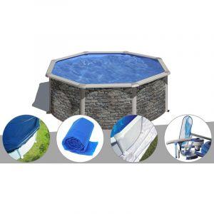 Gre Kit piscine acier aspect pierre Cerdeña ronde 3,70 x 1,22 m + Bâche hiver + Bâche à bulles + Tapis de sol + Kit d'entretien