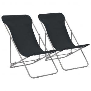 VidaXL Chaise de plage pliable 2 pcs Noir Acier et tissu oxford