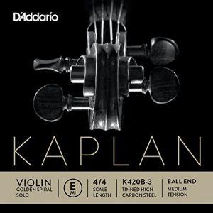 D'Addario Bowed Corde seule (Mi) pour violon Kaplan Golden Spiral Solo, manche 4/4, tension Medium