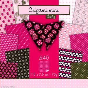 Avenue mandarine 42689O - Pochette Origami Mini, Girly, 7,5 x 7,5 cm, 240 feuilles 70 g/m²