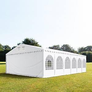 Intent24 Tente de réception 8x12 m - anti-feu H. 2,6m blanc PVC 550g/m² pavillon 100% imperméable.FR