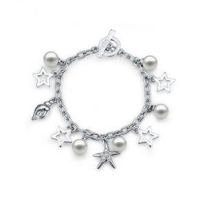 Blue Pearls Cry E120 J - Bracelet Charms en cristal de Swarovski et plaqué rhodium