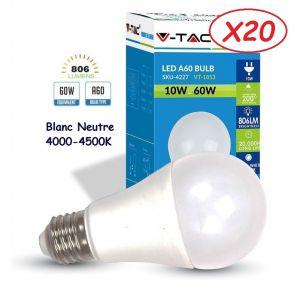 V-TAC Lot de 20 Ampoules LED Culot E27 10W (éq. 60W) 806lm angle 200° lumière blanc neutre