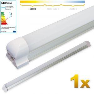 Ledvero 1x SMD réglettes lumineuses LED T8 G13 tube en blanc chaud couvercle laiteux - 90 cm, 14 W, 1400lumen- prêt pour l'installation