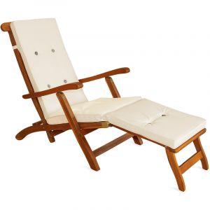 Deuba Detex Coussin pour chaise longue 173 cm - Matelas Transat Bain de soleil Jardin CRÈME