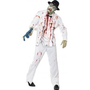 Déguisement gangster blanc zombie homme Halloween (taille M)