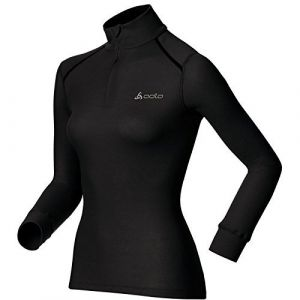 Odlo Originals Warm T-Shirt chaud col zipp manches longues femme Noir Taille Fabricant : XS