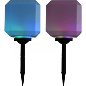 VidaXL Lampe solaire cubique à LED d'extérieur 2 pcs 20 cm RVB