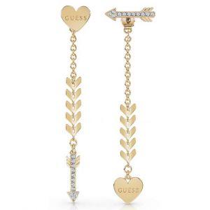 Guess Boucles d'oreilles UBE85025 - Boucles d'oreilles Cupid pendantes Métal Doré Coeur Et flèche Femme