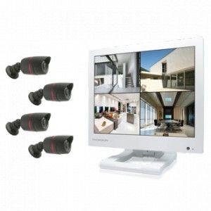 """Thomson 512316 - Kit de vidéosurveillance DVR 12"""" avec 4 caméras"""