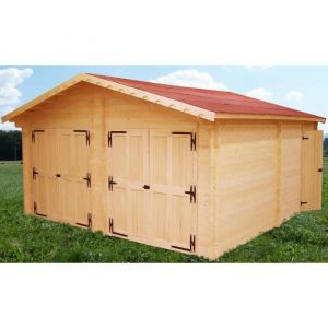 Habrita Garage double en madriers massifs 60mm 35,00 m²