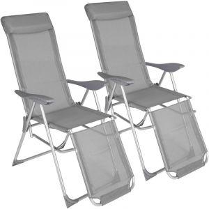 TecTake 2 Chaises Longues de Jardin de Camping Pliantes en Aluminium