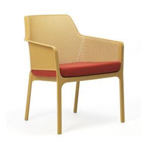 Nardi Coussin d'assise pour fauteuil de jardin NET RELAX 57x52 par - Rouge - Extérieur - Fermeture Zip