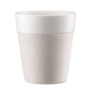 Bodum Bistro Set de 2 Mugs avec Bande Silicone Porcelaine Blanc 0.30 L ( 11582-913 )