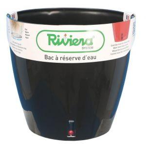 Riviera Pot plastique à réserve d'eau Diam.30 x H.27.5 cm noir