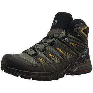 Salomon X Ultra 3 Mid GTX, Chaussures de Randonnée Hautes Homme, Gris (Castor Gray/Black/Green Sulphur 000), 44 EU
