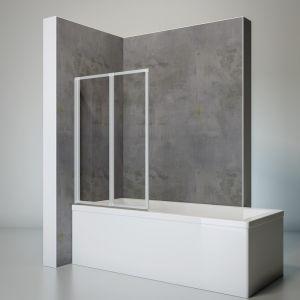 Schulte-ufer Pare baignoire pivotant paroi de baignoire rabattable écran de baignoire profilé alu-argenté 2 volets pliants 87x120 cm Schulte