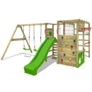 Fatmoose Aire de jeux bois ActionArena Air XXL avec SuperSwing et toboggan vert