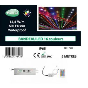 Vision-El Bandeau LED 72W (560W) 12V IP65 (Epoxy) RGB