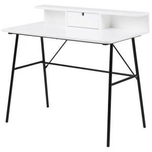 PASCAL Bureau contemporain laqué blanc + pieds en acier laqué noir - L 100 cm - MDF laqué blanc + pieds en acier laqué noir - L 100 x P 55 x H 88 cm - 1 tiroir et 2 niches