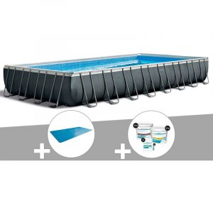 Intex Kit piscine tubulaire Ultra XTR Frame rectangulaire 9,75 x 4,88 x 1,32 m + Bâche à bulles + Kit de traitement au chlore