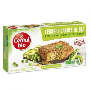 Céréal bio Tendres carrés de blé, petits pois, courgettes, curry