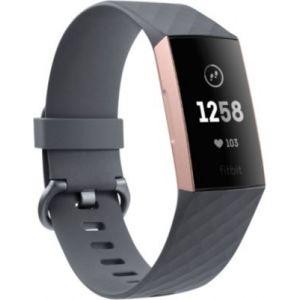 Fitbit Charge 3 - Bracelet d'activité Forme et Sport - Aluminium Or Rose/Bleu Ardoise
